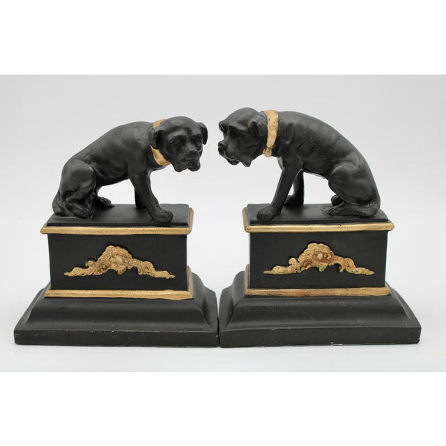 Mid 20th Century Black and Gold Ceramic Dog Bookends For Sale - Image 12 of 13