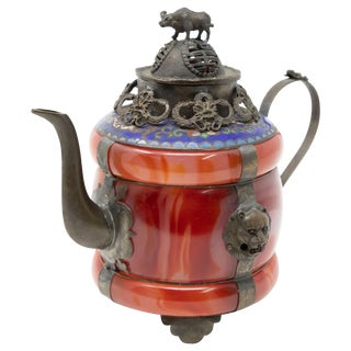 Vintage Chinese Carnelian and Enamel With Bronze Filigree Teapot For Sale