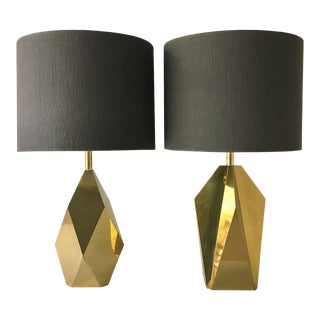 Faceted Matched Pair of Brass Table Lamps 1970s For Sale