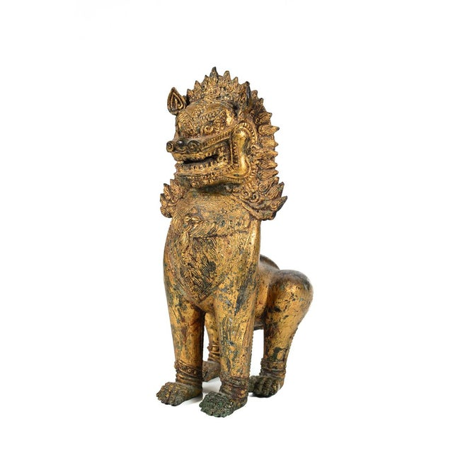 Antique Cambodian Gilt Bronzed Foo Dogs - A Pair For Sale - Image 5 of 8