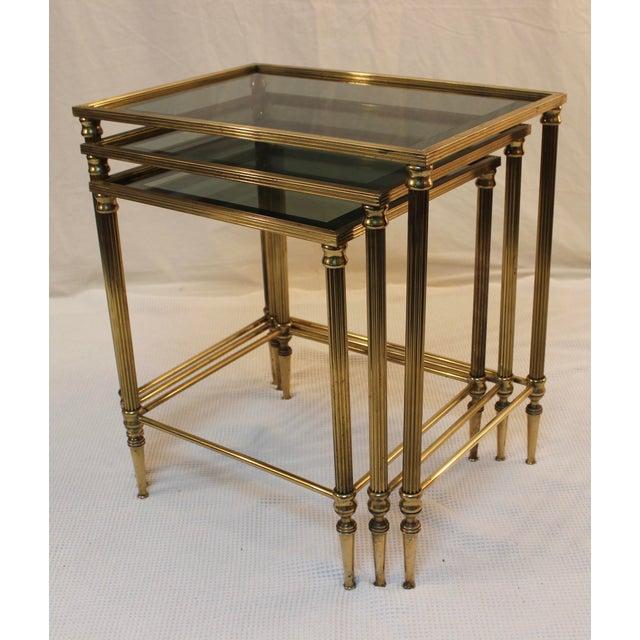 1950's Modern Italian Brass Nesting Tables - Pair For Sale In New York - Image 6 of 10