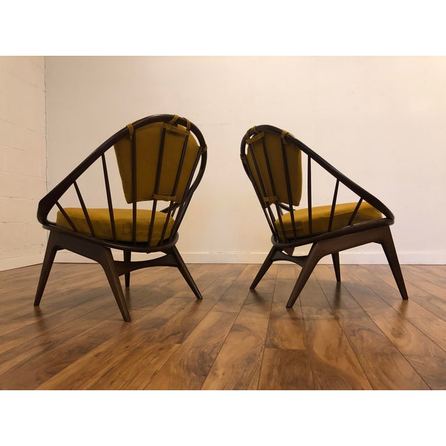 Wood Ib Kofod Larsen for Selig Mid-Century Peacock Lounge Chairs - a Pair For Sale - Image 7 of 13