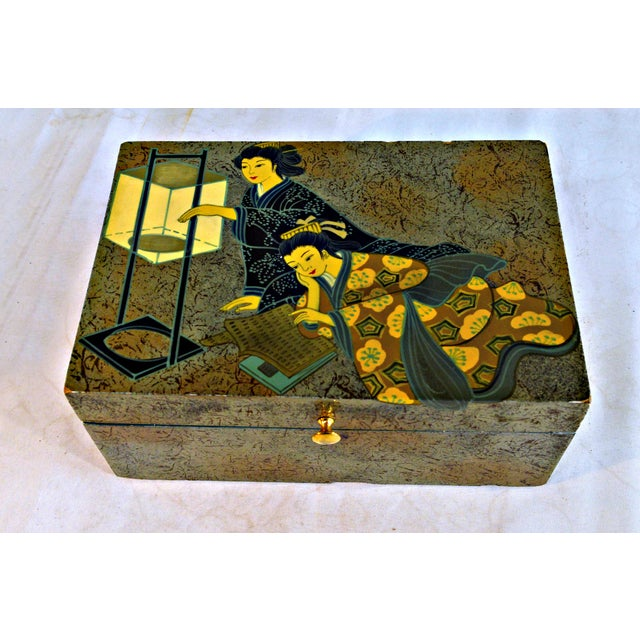Juvenile trinket or jewelry box with geishas motif. Green velvet lined interior. Gold button handle and hinge.