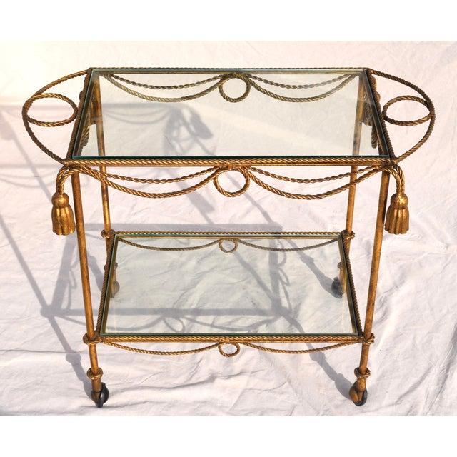 Hollywood Regency Italian Gilt Bar Cart For Sale - Image 3 of 11