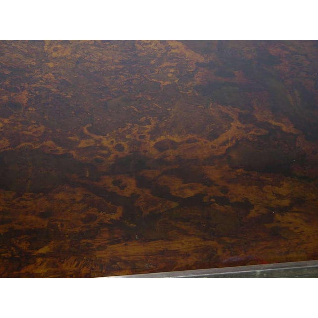 Gold Romeo Rega 1970s Italian Faux Tortoise Brass and Nickel Desk / Center Table For Sale - Image 8 of 9