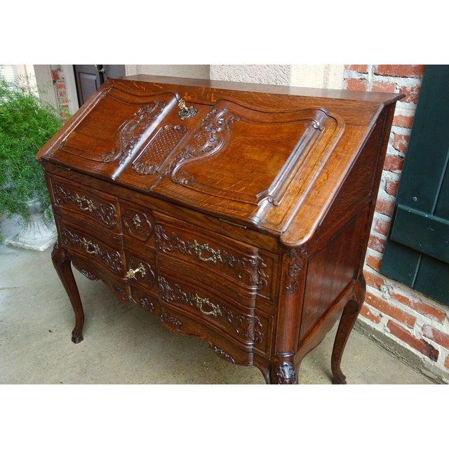 Antique French Carved Oak Secretary Desk For Sale - Image 4 of 11