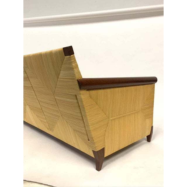 Brown Rare and Stunning John Hutton for Donghia Mahogany and Wrapped Woven Wicker Sofa For Sale - Image 8 of 13