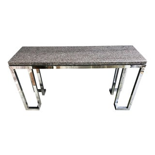 Vintage Chrome Console Table Marble Top Italian Romeo Rega Style For Sale