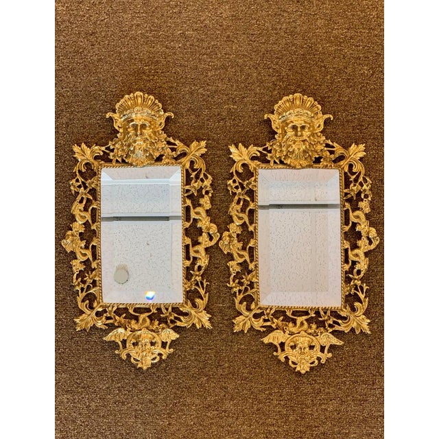 Pair of Napoleon III Brass Neptune Motif Mirrors For Sale In Atlanta - Image 6 of 10