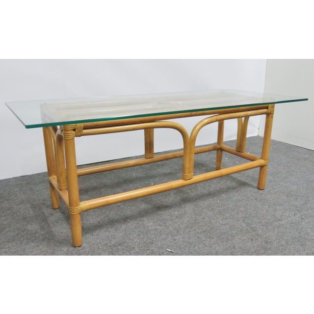 Mid Century Modern Rattan Glass Top Coffee Table For Sale - Image 4 of 6