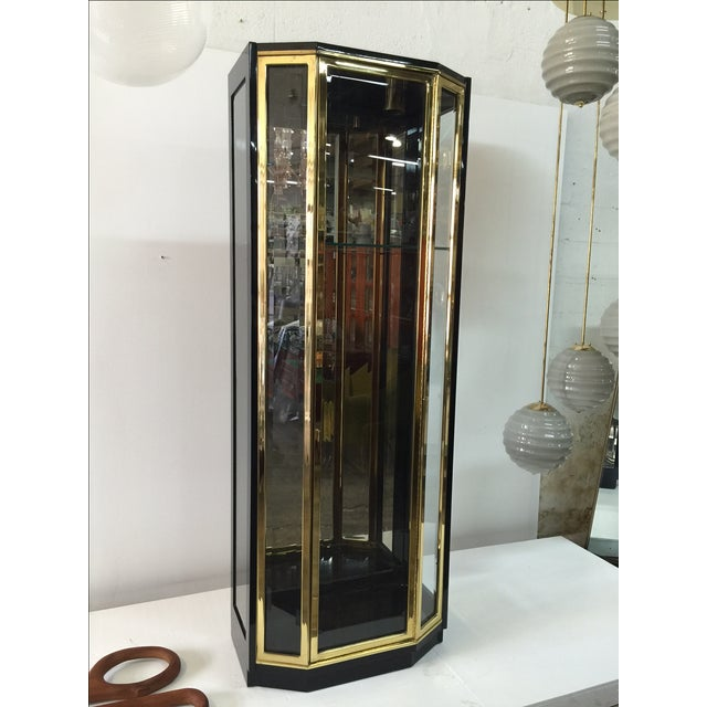 1970s Black Lacquered and Glazed Display Cabinet by Henredon For Sale - Image 5 of 7