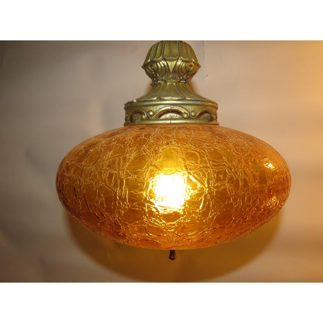 Vintage Italian Art Glass Rewired Retro Boho Gold Crakle Hanging Light For Sale - Image 4 of 9