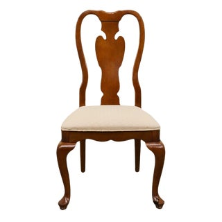 Universal Furniture Cherry Splat Back Queen Anne Style Dining Side Chair For Sale
