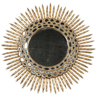 20th Century Spanish Giltwood Sunburst Mirror For Sale