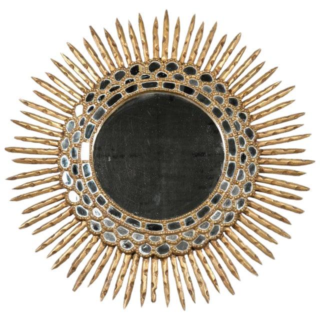 20th Century Spanish Giltwood Sunburst Mirror For Sale