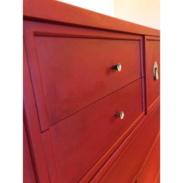 Red Mid-Century Campaign 1960's Drexel Dresser For Sale - Image 8 of 11