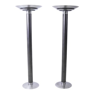 1970's Stainless Steel Oversized Torchiere Floor Lamps For Sale
