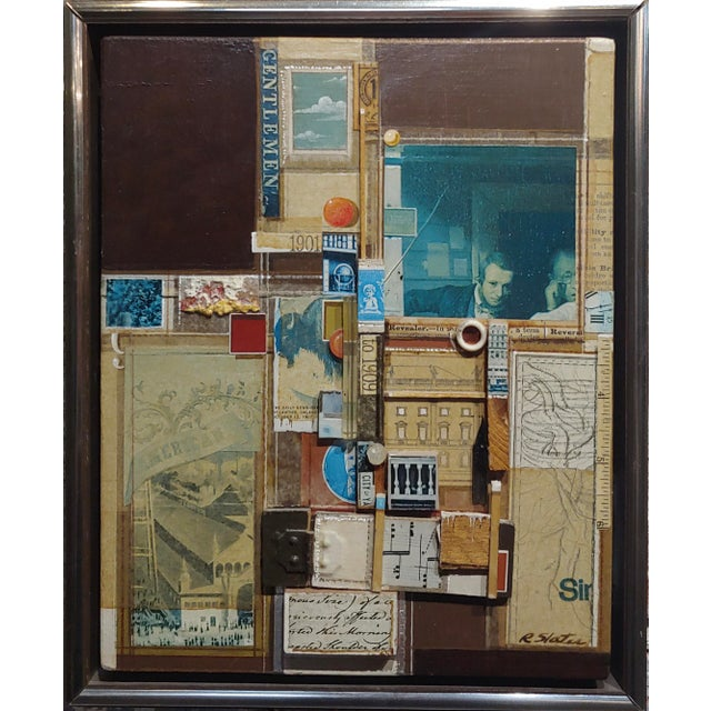 Roderick Slater -One to Nine - Mixed Media collage Painting Mix Media Collage painting on Board -Signed circa 1978 frame...