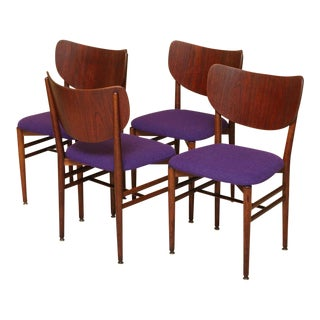 Set of 4 Eva & Nils Koppel Mid-Century Modern Fumed Oak Dining Chairs
