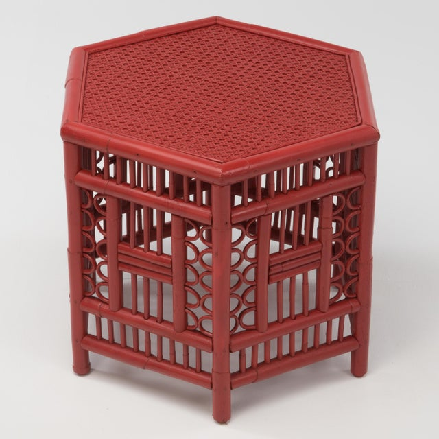 Wood 1970s Chinoiserie Hexagonal Bamboo Coffee Side Table For Sale - Image 7 of 12