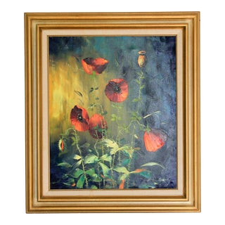 Framed Vintage Poppies Painting For Sale