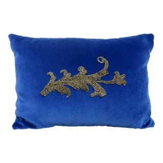Blue Velvet Pillow With Applique For Sale