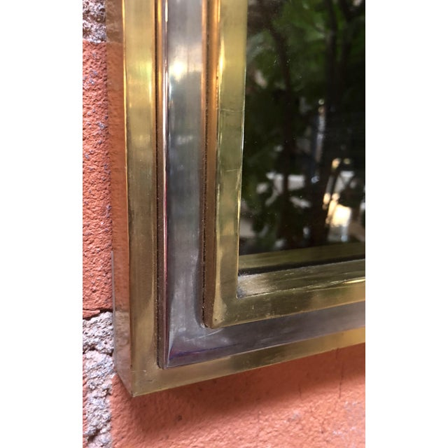 Studio Willy Rizzo Italian Brass and Chrome Wall Mirror Attributed to Willy Rizzo, 1970s For Sale - Image 4 of 8