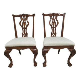 Thomasville Vignettes Chippendale Ball Claw Dining Room Side Chairs - A Pair For Sale