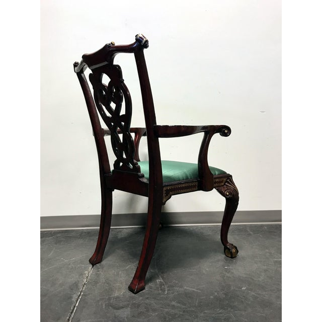Wood Maitland Smith Chippendale Ball Claw Tooled Leather Armchair For Sale - Image 7 of 13