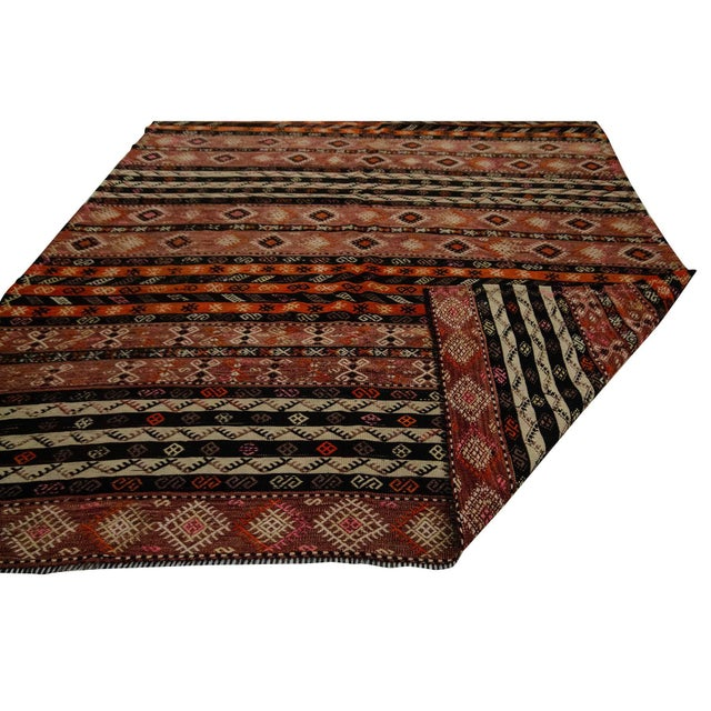 Mid 20th Century Embroidered Vintage Kilim Rug- 7′8″ × 9′ For Sale - Image 5 of 7