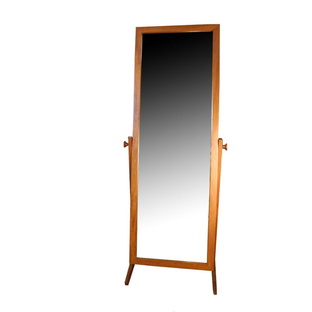 Mid-Century Modern Vintage Danish Modern Teak Full Length Floor Mirror by Pedersen & Hansen For Sale - Image 3 of 13