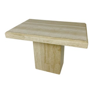 Italian Travertine End Table For Sale