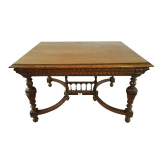 Solid Carved French Oak Dining Table