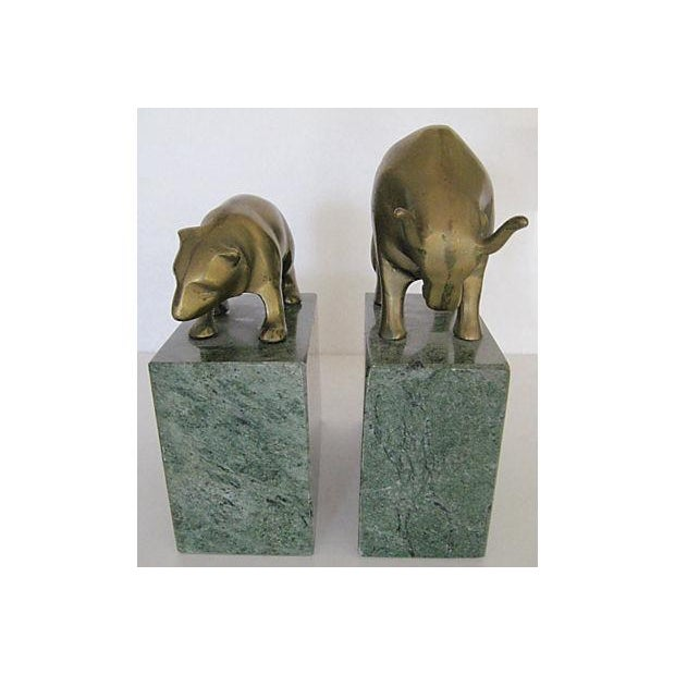 Bear and Bull Brass and Marble Bookends - A Pair - Image 4 of 7