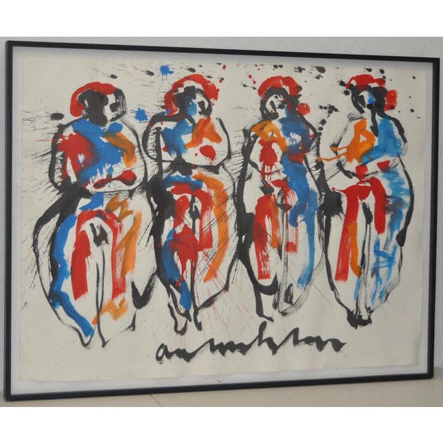 Figural Abstract Watercolor by Anton Heyboer - Image 3 of 8