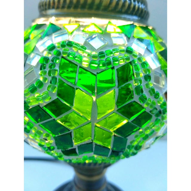 Handmade Green Mosaic Table Lamp - Image 3 of 4