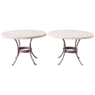Pair of o.w. Lee Faux-Stone Patio Garden Drink Tables For Sale