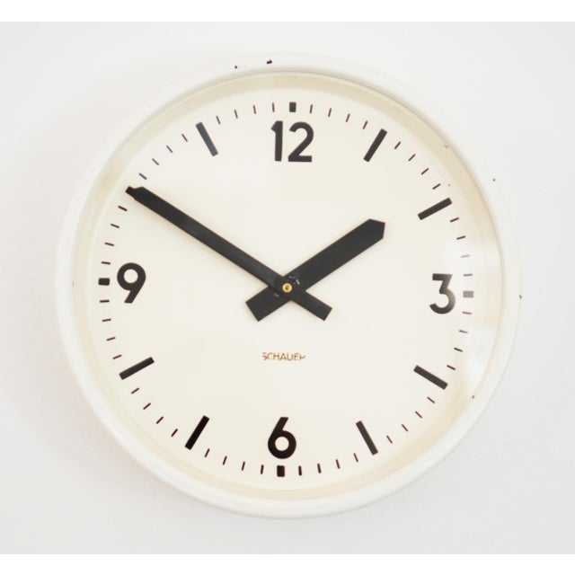White Industrial station clock by Schauer, 1964 For Sale - Image 8 of 8