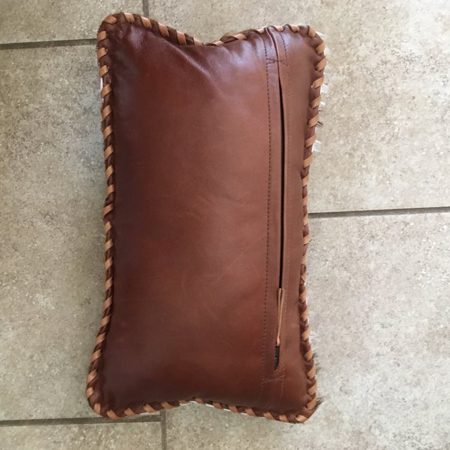 Brown Handmade Leather & Cowhide Lumbar Texas Pillow For Sale - Image 8 of 11