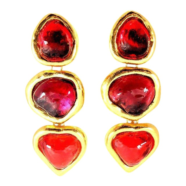 1e82ef52fe1 Ysl Gripoix Poured Glass Drop Heart Earrings For Sale. These Yves Saint  Laurent red ...