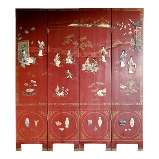 Vintage Chinese 4 Panel Coromandel Lacquered Hardstone Screen For Sale