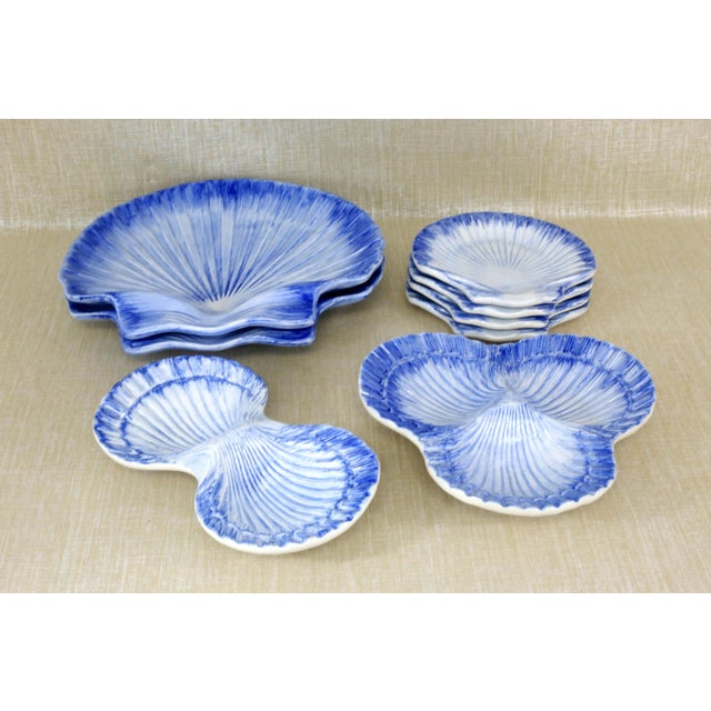 Cottage Collection of Made in Portugal Blue and White Shell Pottery - Set of 8 For Sale - Image 3 of 13