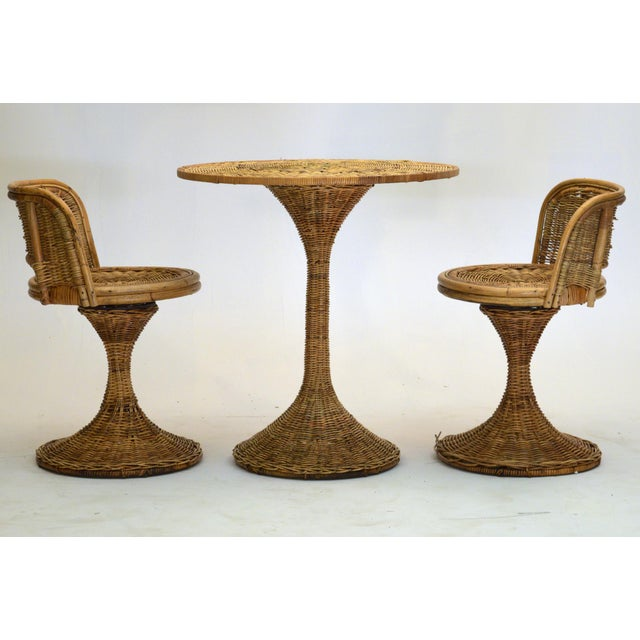 1950s Wicker Rattan Dinette with Swivel Seats - 3 Pieces For Sale - Image 9 of 9