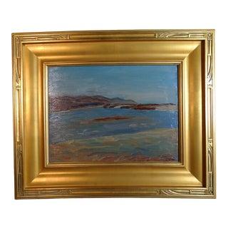 1940s Coastal Bay Landscape Oil Painting by Anders Aldrin, Framed For Sale