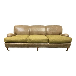 Late 20th Century Highland House Custom Rolled Arm Contrasting Leather + Suede Sofa For Sale