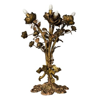 Brutalist Style Brass Floral Table Lamp For Sale
