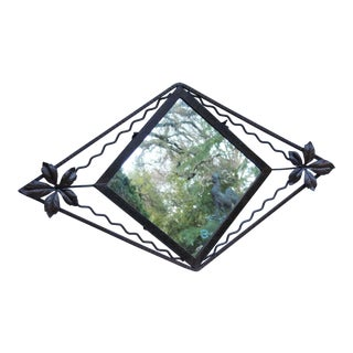 Vintage Art Deco French Iron Hanging Wall Mirror For Sale