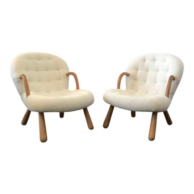 """Off-white Philip Arctander Style """"Clam"""" Armchairs Boucle Fabric For Sale - Image 8 of 8"""