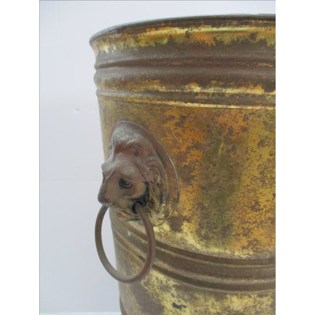 Hollywood Regency Lion Head Brass Umbrella Stand - Image 3 of 10
