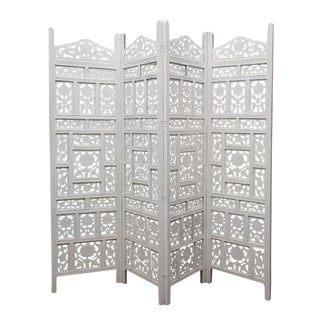 White Floral Folding Screen For Sale